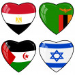 Set of vector images of hearts with the flags of  Egypt, Zambia, — Imagen vectorial