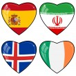 Set of vector images of hearts with the flags of Iran, Ireland, — Stock Vector