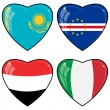 Set of vector images of hearts with the flags — 图库矢量图片