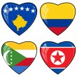Set of vector images of hearts with the flags of Korea, Colombia — Vettoriali Stock