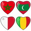 Set of vector images of hearts with the flags of Mali, Maldives, — Stock Vector