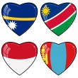 Set of vector images of hearts with the flags of Nauru, Namibia, — 图库矢量图片