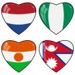 Set of vector images of hearts with the flags of Nepal, Niger, N — 图库矢量图片