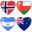 Set of vector images of hearts with the flags of Norway, United — Imagen vectorial