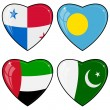 Set of vector images of hearts with the flags of Pakistan, Palau — Stock Vector