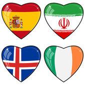 Zbiór obrazów wektorowych serc z flagami w iranie, irlandia, — Wektor stockowy