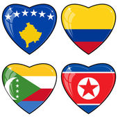 Set of vector images of hearts with the flags of Korea, Colombia — Stock Vector