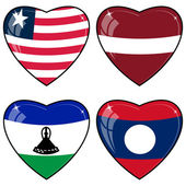 Set of vector images of hearts with the flags of Laos, Latvia, L — Stock Vector