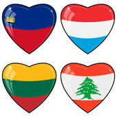 Set of vector images of hearts with the flags of Lebanon, Luxem — Stock Vector