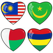 Set of vector images of hearts with the flags of Malaysia, Mauri — Stock Vector
