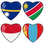 Set di immagini vettoriali di cuori con le bandiere di nauru, namibia, — Vettoriale Stock