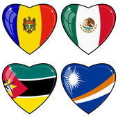 Set of vector images of hearts with the flags of Marshall Island — Stock Vector
