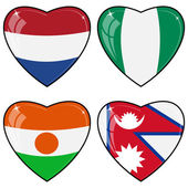 Set of vector images of hearts with the flags of Nepal, Niger, N — Stock Vector