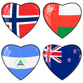 Set of vector images of hearts with the flags of Norway, United — Stock Vector
