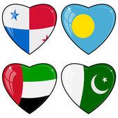 Set di immagini vettoriali di cuori con le bandiere del pakistan, palau — Vettoriale Stock