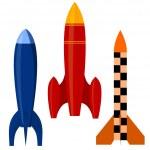 Vector illustration of a set of rockets. EPS10 — Stock Vector