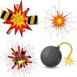 Vector illustration of set of explosions — Vector de stock #10499647