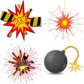 Vector illustration of a set of explosions — Stock Vector