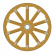 Vector image of a wooden wheel — Stock Vector