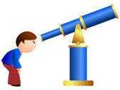 Illustrazione vettoriale di un ragazzo e un telescopio — Vettoriale Stock