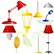 Collection of vector illustrations of lamps - Stock Vector
