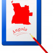 Vector de stock : Vector illustration of the clipboard with a map of Angola