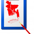 Vector de stock : Vector illustration of the clipboard with a map of Bangladesh