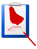 Vector illustration of the clipboard with a map of Barbados — ストックベクタ