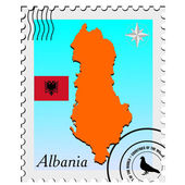 Vector stamp with the image maps of Albania — Stock Vector