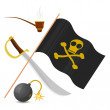 Collection of pirate attributes — Stock Vector