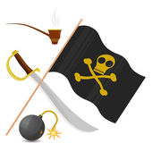 Coleção de atributos de pirata — Vetor de Stock