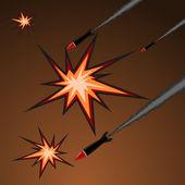 Ilustración de vector de ataque con cohetes — Vector de stock