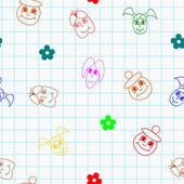 Tekstura wektor z bajki dzieci w szkole — Wektor stockowy