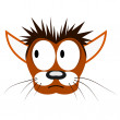 Vector illustration of cartoon cat's head — Imagens vectoriais em stock