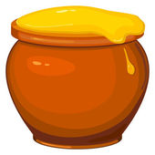 Vector illustration of cartoon pot of honey — Stock Vector