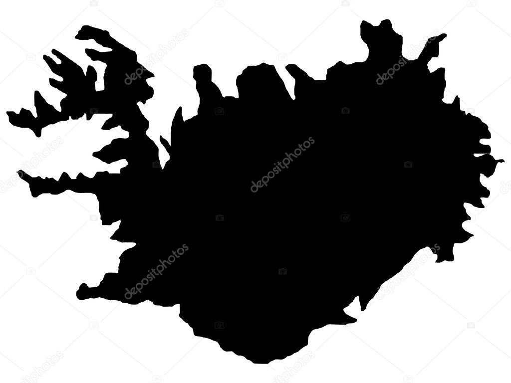 矢量插画的冰岛地图