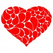 Stock Vector: Red heart with drops