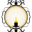 Candle and a mirror in a frame — Stock Vector