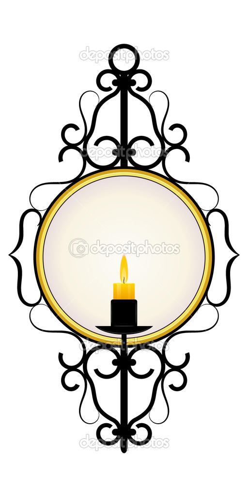 Candle and a mirror in a frame — Stock Vector #8989345