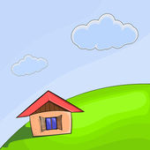 Vector illustration of a small house on the hill — Stock Vector