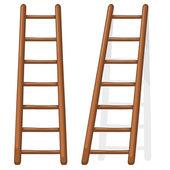 Vector cartoon illustration of a wooden staircase — Stock Vector