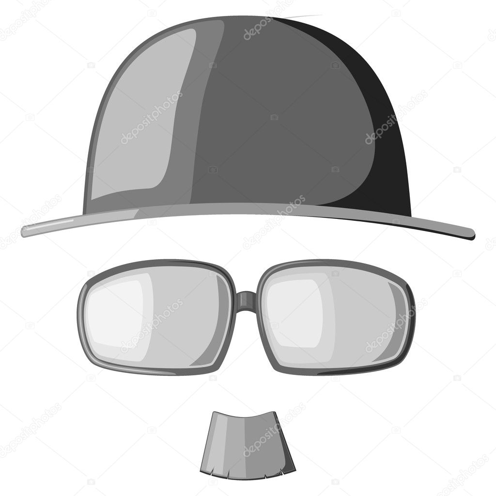 A set of vector images mustache, glasses and hats — Stock Vector #9755393