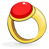 Gold ring with a ruby — Stock Vector