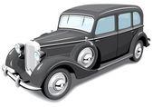 黒いレトロ車 — ストックベクタ