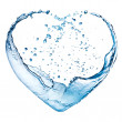Stock Photo: Valentine heart made of blue water splash isolated on white back