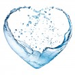 Valentine heart made of blue water splash isolated on white back — Stockfoto