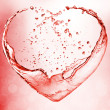 Valentine heart made of blue water splash - Stock Photo