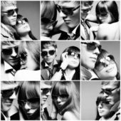 Fashionable young couple wearing sunglasses — Stock Photo