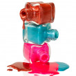 Bottles with spilled nail polish — Stock Photo #10060995