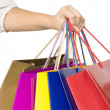 Girl keep shopping bags in hand — Stock Photo